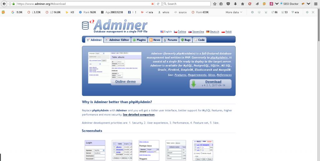 Install Adminer on CentOS 7 via Command Line