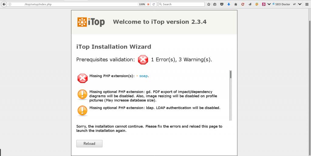iTop Installation Error : Class 'DBBackup' not found