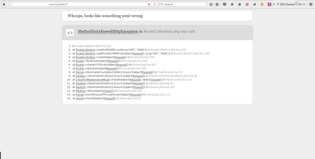 Laravel Error Message MethodNotAllowedHttp Submit Update